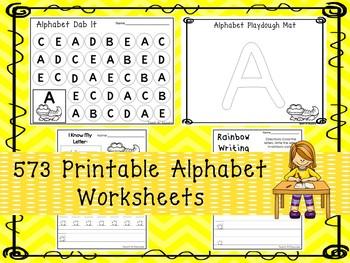 573 Alphabet Worksheets Download. Preschool-Kindergarten.  Worksheets in ZIP