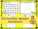 573 Alphabet Worksheets Download. Preschool-Kindergarten.  Worksheets in ZIP