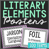 100 Literary Elements Vocabulary Word Wall Terms or Flash Cards {EDITABLE}