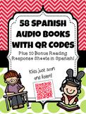 58 Spanish Audio Books with QR Codes {Plus 10 BONUS Reading Response Sheets!}