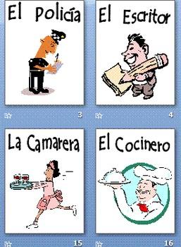 Spanish Professions 58 Slide Presentation, Flashcards or Bulletin Board Signs