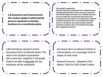 STAAR TEK 5.8A  Coordinate Graphing Task Cards for Guided Practice/Test Prep