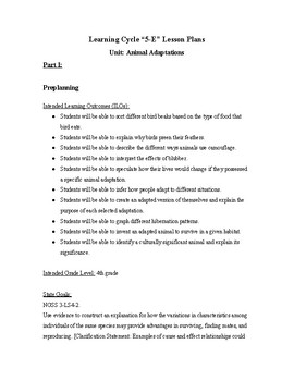 5E Animal Adaptation Unit