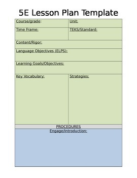 5E Lesson Plan Template-Editable