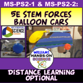 Distance Learning MS-PS2-1 MS-PS2-2 STEM 5E NGSS Balloon Cars Lab Engineering