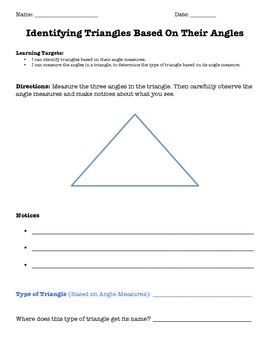 5.G.1, 5.G.2 Identify Triangles Based on Angles