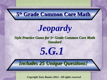 5.G.1 Jeopardy Game 5th Grade Common Core Math Geometry Coordinate Plane
