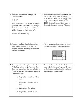 5.G.A.1 and 5.G.A.2  Coordinate System Assessment