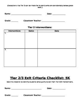 5K - RtI Tier 2 Criteria Checklist