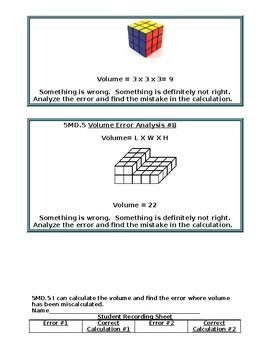 5MD.5 Error Analysis Volume Task Cards