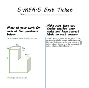 5.MD 5th Math CCSS Assessments, Differentiated journal Prompts, exit slips
