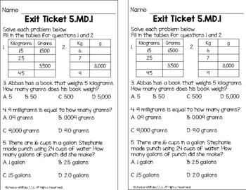 Converting Units of Measure Math Tasks and Exit Tickets