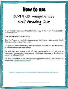US Weight Self Grading Quiz