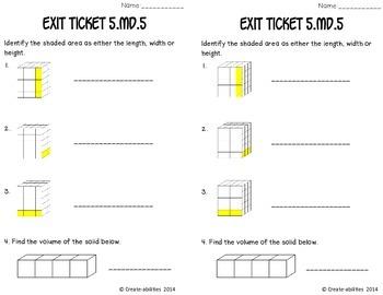 Volume of Rectangular Prisms Math Tasks and Exit Tickets