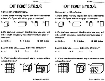 Measuring Volume Math Tasks and Exit Tickets