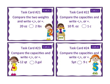 5.MD.A.1 Converting Measurement Student Task Cards!