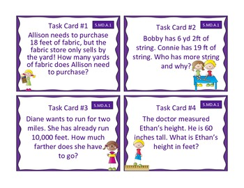 5.MD.A.1 Converting Measurement Student Task Cards