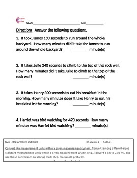 5.MD.A.1 Measurement and Data Word Problems 5th Grade Common Core Math Sheets