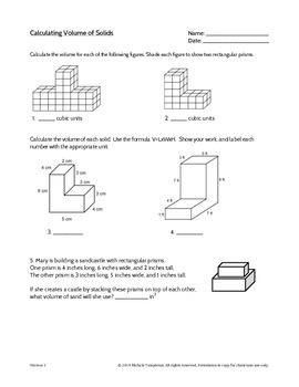 5 md volume of solid figures worksheet by mrs templeton tpt. Black Bedroom Furniture Sets. Home Design Ideas