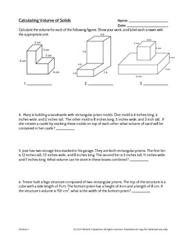 5.MD.C.5c Volume of Solid Figures Worksheet by Mrs Templeton | TpT