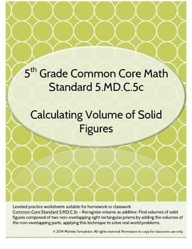 5.MD.C.5c Volume of Solid Figures Worksheet