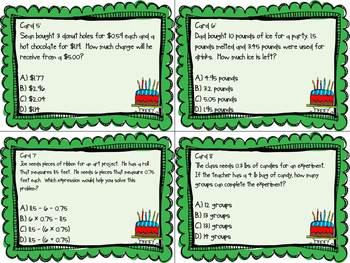 Math Test Prep Task Cards for Fifth Grade (NBT Strands)