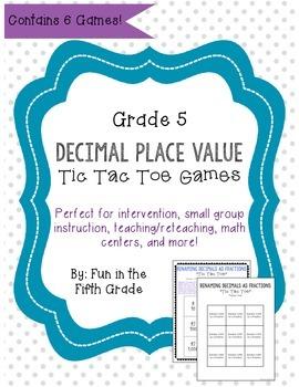 Decimal Place Value Tic Tac Toe Intervention Games