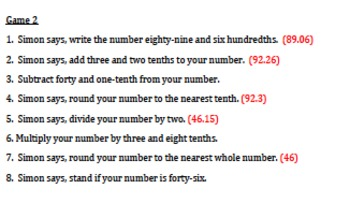 5.NBT.3a, 4, 7 Simon Says Game with Decimals