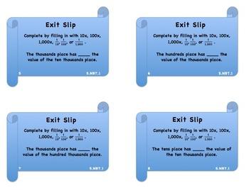 5.NBT.1 Exit Slip