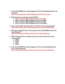 5.NBT.1 Practice Problems with Answer Key