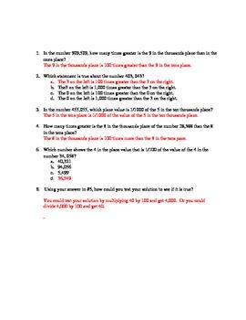 5.NBT.1 Practice Word Problems
