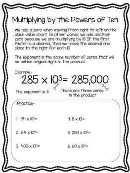 5.NBT.2 5th Grade Common Core Math Resource Bundle- Powers of Ten