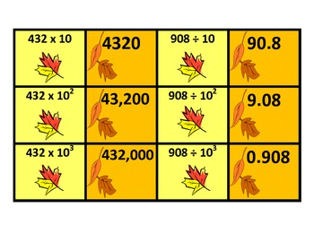5.NBT.2 Fall Themed Powers of 10 Matching