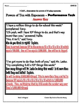 5.NBT.2 - Performance Task - Powers of 10 - CCSS