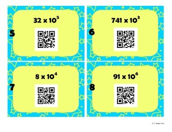 5.NBT.2 Powers of Ten QR CODE TASK CARDS