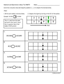 5.NBT.3 5th Grade Common Core Math Practice or Assessments Compare Decimals