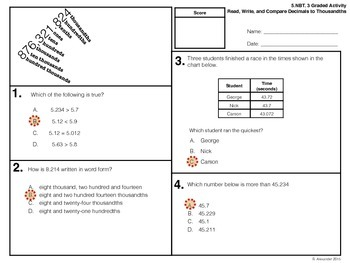5.NBT.3 Graded Activity - Read, Write, and Compare Decimals to Thousandths