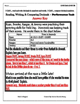 5.NBT.3 - Performance Task - Reading, Writing, & Comparing Decimals - CCSS