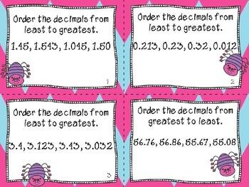 5.NBT.3 Read write and compare decimals - Halloween theme