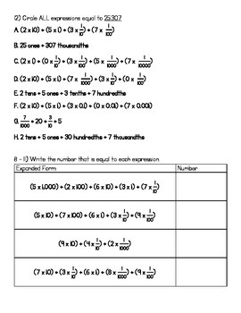 5.NBT.3a WS - Expanded Form (KEY INCLUDED) - Great for a quiz