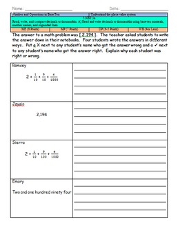 5.NBT.3a (Read, write, and compare decimals to thousandths)
