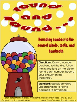 5.NBT.4 Fifth Grade Common Core Worksheets, Activity, and Poster