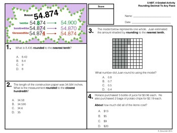5.NBT.4 Graded Activity - Round To The Nearest Decimal
