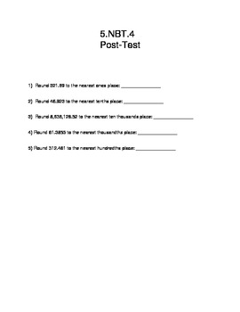 5.NBT.4 Post Assessment- Rounding