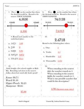 5.NBT.4 - Rounding Decimals - CCSS