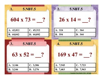 5.NBT.5 5th Grade Math Task Cards - Fluently Multiply Multi-digit Whole Numbers