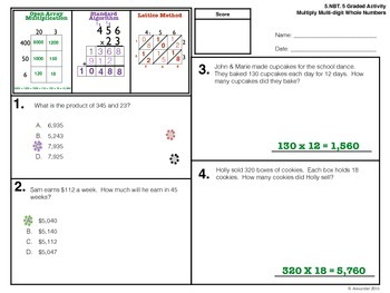 5.NBT.5 Graded Activity - Multiply Multi-digit Whole Numbers
