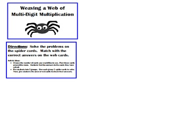 5.NBT.5 Halloween - Weaving a Web of Multi-Digit Multiplication - Task Cards