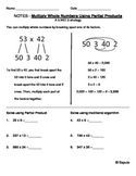 5NBT5 Multiplication Strategy (Partial Products) Notes