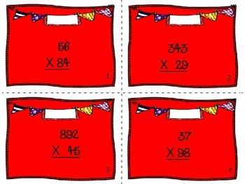 5.NBT.5 Task Cards- Multiplying multi digit whole numbers
